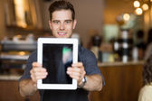 Cafe Owner Holding Digital Tablet In Restaurant — Stock Photo
