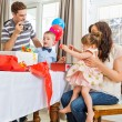 Family Opening Birthday Presents — Stock Photo