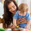Mother With Baby Boy Eating Cupcake — Stock Photo