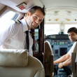Pilot Entering Private Jet — Stock Photo
