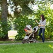 Woman With Baby Carriage Using Cell Phone In Park — Stock Photo