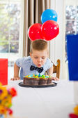 Boy Blowing Candles On Cake — Stock Photo