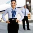 Confident Airhostess With Hands On Hip At Airport Terminal — Stock Photo #37452339