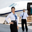Постер, плакат: Confident Stewardesses Smiling With Pilot And Private Jet In Bac