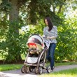 Woman Pushing Baby Carriage In Park — Stock Photo
