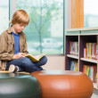 Boy Reading Book In Library — Stock Photo #38385155