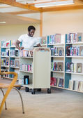 Librarian With Trolley Books — Foto Stock