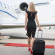 Постер, плакат: Woman With Luggage Walking Towards Private Jet