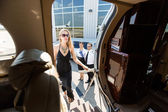 Beautiful Woman In Dress Boarding Private Plane — Stock Photo