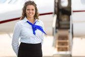 Beautiful Stewardess With Private Jet In Background — Stock Photo