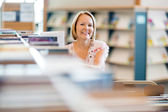 Confident Librarian Working In Library — Stock Photo