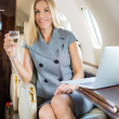 Businesswoman Holding Wineglass In Private Jet — 图库照片