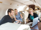 Business People Working In Private Jet — Stock Photo