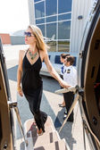 Elegant Woman In Dress Boarding Private Jet — Stock Photo