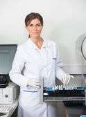 Researcher With Samples For Coagulation Analysis In Lab — Stock Photo