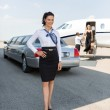 Attractive Stewardess Standing Against Limousine And Private Jet — Stock Photo