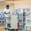Librarian With Trolley Arranging Books In Library — Stok fotoğraf