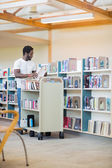 Librarian With Trolley Arranging Books In Library — Stock Photo