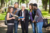 Senior Student Discussing Notes With Classmates On Campus — Stock Photo