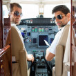 Confident Pilots In Cockpit Of Plane — Stock Photo