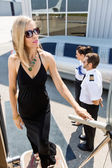 Rich Woman Boarding Private Jet — Stock Photo