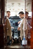 Pilot And Copilot In Corporate Plane Cockpit — Stock Photo