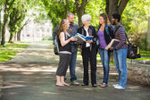 Student Discussing Notes With Classmates On Campus — Stock Photo