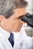 Forskare genom mikroskop i lab — Stockfoto