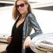 Young Diva with Private Jet — Stock Photo