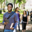 Happy Student Holding Digital Tablet On Campus — Stock Photo