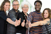 Students and Professor Showing Thumbs Up — Stock Photo