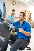 Young Man On Exercise Bike In Hospital — Stock Photo