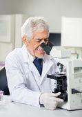 Smiling Scientist Using Microscope In Laboratory — Stock Photo