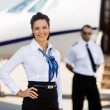 Beautiful Airhostess With Hand On Hip At Airport Terminal — Stock Photo #40351605