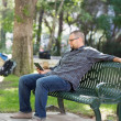 College Student Using Digital Tablet On Bench — Stock Photo #40353509