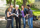 Students Discussing Notes On Campus — Stock Photo