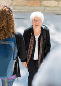 College Professor Walking to Class Outdoors — Stockfoto