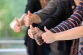 Multiethnic University Students Gesturing Thumbsup — Stock Photo