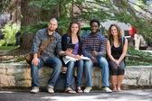 Portret van universitaire studenten zitten op de campus — Stockfoto