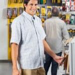 Male Customer Purchasing Tools At Shop — Stock Photo