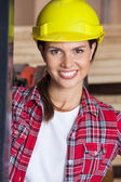 Closeup Of Confident Engineer Wearing Hardhat — Stock Photo