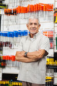 Confident Customer With Arms Crossed Hardware Shop — Stock Photo