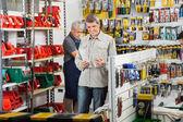 Customer Choosing Soldering Iron In Store — Foto de Stock