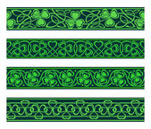 Seamless borders with shamrock — Stock Vector