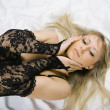 Beautiful blonde sex in bed — Stock Photo #1556941