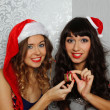Girlfriends at christmas party — Stock Photo #15830817