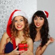 Girlfriends at christmas party — Stock Photo