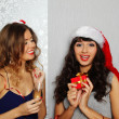 Girlfriends at christmas party — Stock Photo #15831079
