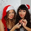 Girlfriends at christmas party - Foto Stock