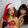 Girlfriends at christmas party — Stock Photo #17443445